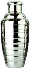 Franmara Convex 18-Ounce Cocktail Shaker Set Ribbed 3-Piece Stainless Steel